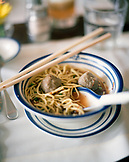 CHINA, Macau, Asia, Grand Lapa Hotel, Bella Vista Cafe, Noodles soup and chopsticks, close-up