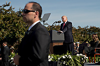 A member of the United States Secret Service stands watch while U.S. President Donald J. Trump speaks during a ceremony to commemorate the September 11, 2001 terrorist attacks, at the Pentagon in Washington, D.C., U.S., on Monday, Sept. 11, 2017. Trump is presiding over his first 9/11 commemoration on the 16th anniversary of the terrorist attacks that killed nearly 3,000 people when hijackers flew commercial airplanes into New York's World Trade Center, the Pentagon and a field near Shanksville, Pennsylvania. <br /> CAP/MPI/CNP/RS<br /> &copy;RS/CNP/MPI/Capital Pictures