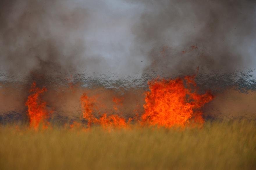 Steppe fields in the fire, Bagerova Steppe, Kerch Peninsula, Crimea, Ukraine