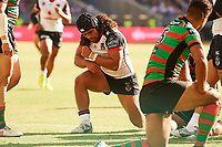 Isaiah Papali'i of the NZ Warriors celebrates a try, Rabbitohs v Vodafone Warriors, NRL rugby league premiership. Optus Stadium, Perth, Western Australia. 10 March 2018. Copyright Image: Daniel Carson / www.photosport.nz