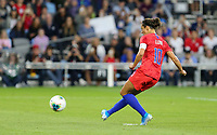 Saint Paul, MN - SEPTEMBER 03: Carli Loyd #10 of the United States scores from the penalty spot during their 2019 Victory Tour match versus Portugal at Allianz Field, on September 03, 2019 in Saint Paul, Minnesota.