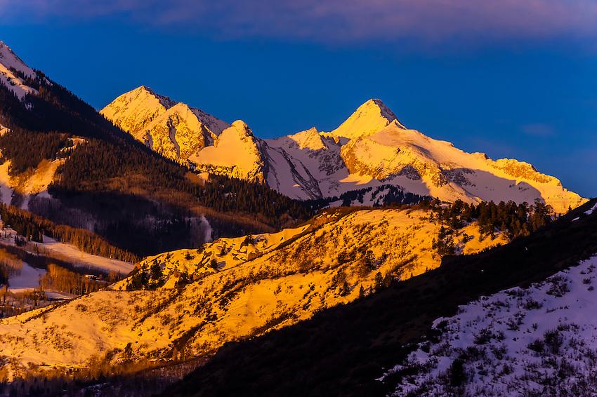 Aspen/Snowmass ski resort at sunrise, Colorado USA.