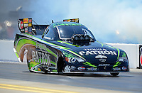 Apr. 13, 2012; Concord, NC, USA: NHRA funny car driver Alexis DeJoria during qualifying for the Four Wide Nationals at zMax Dragway. Mandatory Credit: Mark J. Rebilas-