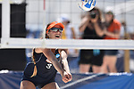 GULF SHORES, AL - MAY 07: Delaney Knudsen (3) of Pepperdine University hits a bump against the University of Hawaii during the Division I Women's Beach Volleyball Championship held at Gulf Place on May 7, 2017 in Gulf Shores, Alabama. (Photo by Stephen Nowland/NCAA Photos via Getty Images)