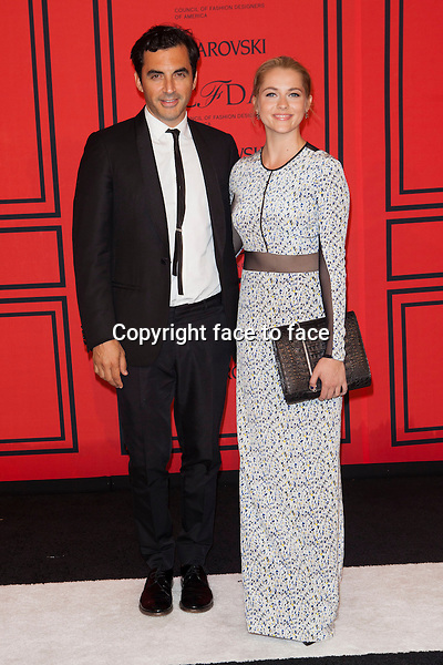 NEW YORK, NY - JUNE 3: Yigal Azrouel, Teresa Palmer at the 2013 CFDA Fashion Awards at Lincoln Center's Alice Tully Hall in New York City. June 3, 2013. <br />