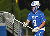 AJ Galassi #9, Port Washington goalie, looks to make a pass during the Nassau County varsity boys lacrosse Class A semifinals against Massapequa at Shuart Stadium, located on the campus Hofstra University in Hempstead, on Thursday, May 24, 2018.
