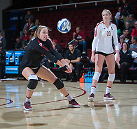 STANFORD, CA - December 1, 2018: Morgan Hentz, Kate Formico at Maples Pavilion. The Stanford Cardinal defeated Loyola Marymount 25-20, 25-15, 25-17 in the second round of the NCAA tournament.