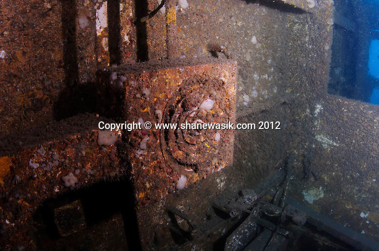 Inside the wreck of the Wellington.
