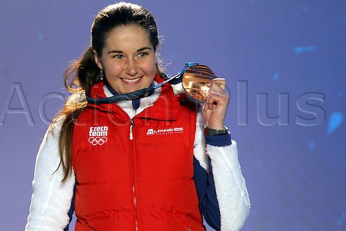 26 02 2010 Copyright Actionplus/GEPA Pictures . 2010 Vancouver Winter Olympic Games. Whistler Canada 26 Feb 10  Ski Alpine Slalom for women Medal assignment Award Ceremony Picture shows Sarka Zahrobska CZE.  Photo : Imago/Actionplus. Editorial Use UK.