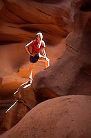 Hiker tourists in Antelope Canyon, Utah, USA
