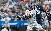 Foxborough, Massachusetts - May 26, 2018: NCAA Division I tournament semifinal. Yale University (blue) defeated University at Albany (State University of New York) (white), 20-11, at Gillette Stadium.