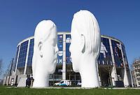 Nederland - Leeuwarden - april 2018. Leeuwarden Culturele Hoofdstad van Europa 2018. Mistfontein Love van Jaume Plensa. De wolk van mist verschijnt in mei.    Foto Berlinda van Dam / Hollandse Hoogte