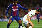 UEFA Champions League 2017/2018.<br /> Quarter-finals 1st leg.<br /> FC Barcelona vs AS Roma: 4-1.<br /> Nelson Semedo vs Alessandro Florenzi.