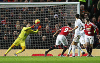 Anthony Martial of Manchester United scores the opening goal during the Barclays Premier League match between Manchester United and Swansea City played at Old Trafford, Manchester on January 2nd 2016