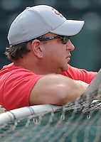General manager Mike Dunn of the Rome Braves, Class A affiliate of the Atlanta Braves, before a Sally League game in 2009.  Dunn will be inducted into the class of 2010 for the South Atlantic League Hall of Fame at the 51st Annual South Atlantic League All-Star Game, June 22, 2010, at Fluor Field at the West End in Greenville, S.C. Photo by: Tom Priddy/Four Seam Images