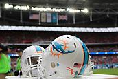 1st October 2017, Wembley Stadium, London, England; NFL International Series, Game Two; Miami Dolphins versus New Orleans Saints; Miami Dolphins helmets sit ready for the game