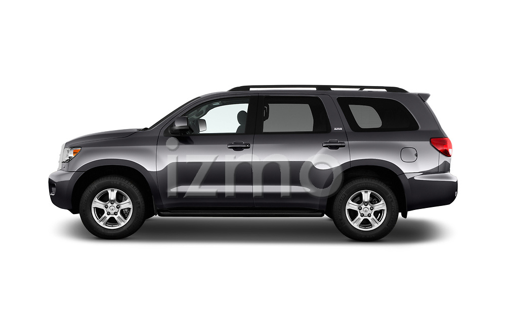 Car driver side profile view of a 2014 Toyota Sequoia SR5 5 Door SUV