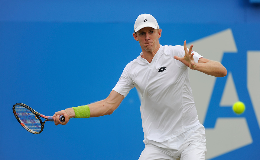 Kevin Anderson (RSA) in action today during his match against Gilles Simon (FRA) in their Men&rsquo;s Singles Semi Final match<br /> <br /> Photographer Ashley Western/CameraSport<br /> <br /> Tennis - ATP 500 World Tour - AEGON Championships- Day 6 - Saturday 20th June 2015 - Queen's Club - London <br /> <br /> &copy; CameraSport - 43 Linden Ave. Countesthorpe. Leicester. England. LE8 5PG - Tel: +44 (0) 116 277 4147 - admin@camerasport.com - www.camerasport.com