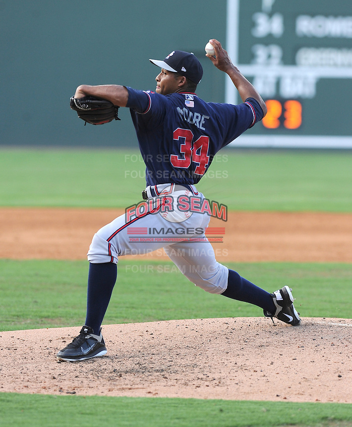 Pitcher Navery Moore (34) of the Rome Braves, an Atlanta Braves affiliate, in a game against the Greenville Drive on July 6, 2012, at Fluor Field at the West End in Greenville, South Carolina. Greenville won, 4-0. (Tom Priddy/Four Seam Images)