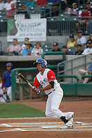 Stockton Ports shortstop Yario Munoz (10) at bat during a game against the Visalia Rawhide at Banner Island Ballpark on August 15, 2015 in Stockton, California. Visalia defeated Stockton 9-1. (Robert Gurganus/Four Seam Images)