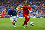 Everton's Sandro Ramírez in action with Sevilla's Sergio Escudero during the pre season friendly match at Goodison Park Stadium, Liverpool. Picture date 6th August 2017. Picture credit should read: Paul Thomas/Sportimage