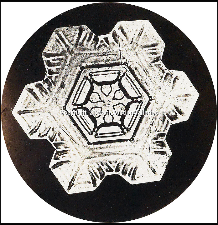 "BNPS.co.uk (01202 558833)<br /> Pic: SwannAuctionGalleries/BNPS<br /> <br /> First contact - Unique album that revealed the beauty and variety of snowflakes.<br /> <br /> This striking never-before-seen album captures the work of an obsessive photographer who proved all snowflakes are unique.<br /> <br /> Although initially shunned by scientists, Wilson ""Snowflake Man"" Bentley's work bewitched the public after his pictures began to be published at the end of the nineteenth century. <br /> <br /> The eccentric snapper - who died after walking six miles home in a blizzard in 1931 - used a specially adapted bellows camera and microscope to capture the flakes after catching them on a blackboard. <br /> <br /> This extremely rare leatherette album of his work has emerged at auction - and as it spans the length of his career, some of the pictures could be the first ever images of snow flakes.<br /> <br /> The album is expected to fetch £21,000 on Thursday when it is sold by Swann Galleries in New York."