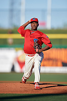 Clearwater Threshers starting pitcher Jose Taveras (45) delivers a pitch during a game against the Dunedin Blue Jays on April 7, 2017 at Spectrum Field in Clearwater, Florida.  Dunedin defeated Clearwater 7-4.  (Mike Janes/Four Seam Images)