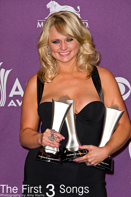 Miranda Lambert, winner of Song of the Year, Record of the Year, and Female Vocalist of the Year, during the 48th Annual Academy of Country Music Awards at the MGM Grand Garden Arena on April 7, 2013 in Las Vegas, Nevada.