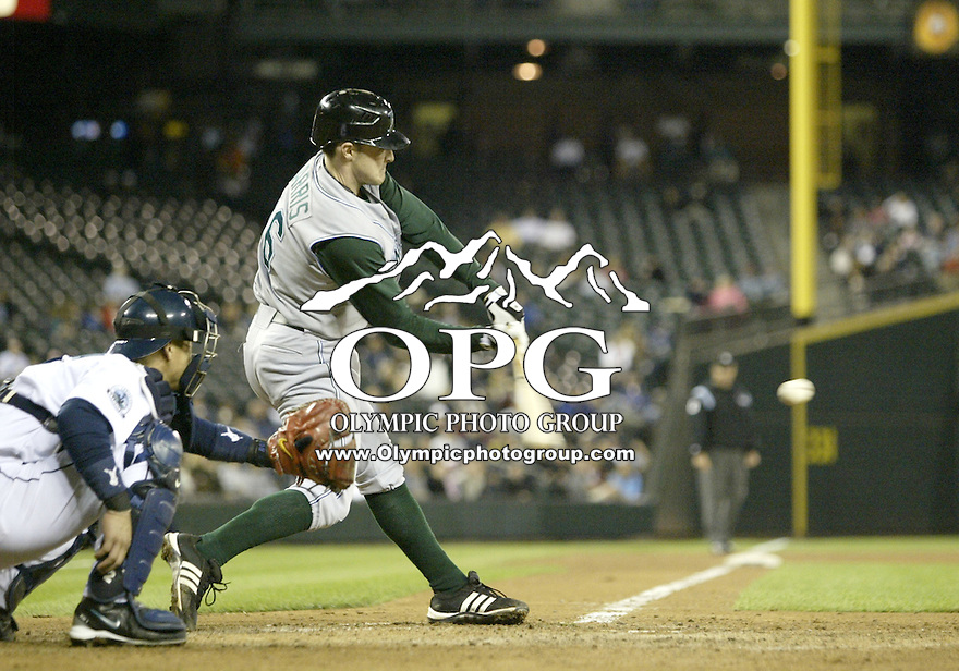 13 Sept 2007:  Tampa Bay Devil Rays Brendan Harris connects for a base hit against the Seattle Mariners . Seattle won 8-7 at Safeco Field in Seattle, WA.