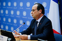 New York City, NY. 23 September 2014. France President François Hollande speaks during a press conference after attend the 69th United Nations General Assembly at United Nations Headquarters.  Photo by Kena Betancur/VIEWpress