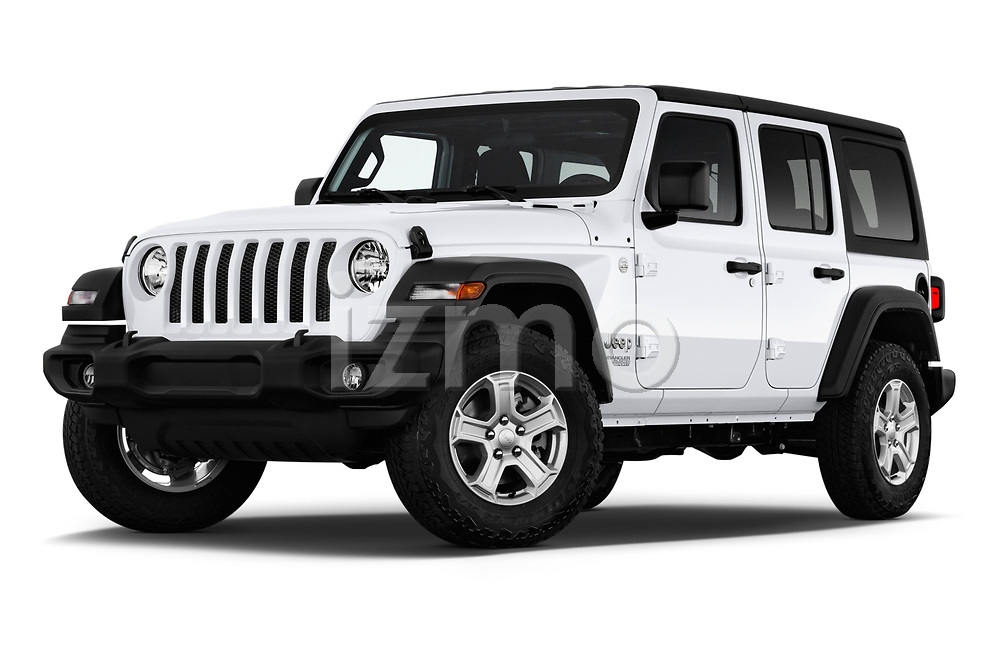 Stock pictures of low aggressive front three quarter view of a 2020 Jeep Wrangler Unlimited Sport 5 Door SUV