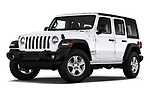 Stock pictures of low aggressive front three quarter view of a 2018 Jeep Wrangler Unlimited Sport 5 Door SUV