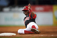 Batavia Muckdogs shortstop Anfernee Seymour (3) slides into third during a game against the Lowell Spinners on August 12, 2015 at Dwyer Stadium in Batavia, New York.  Batavia defeated Lowell 6-4.  (Mike Janes/Four Seam Images)
