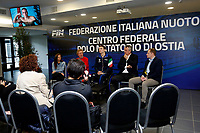Manuel Bortuzzo with his parents, Franco and Rossella and the president of FIN Paolo Barelli talking to press<br /> Rome March 13th 2019. Manuel Bortuzzo, promising swimmer who was shot in front of a nightclub, returns to his swimming pool at Ostia Federal Swimming Centre. The 19 years old guy was shot by mistake in front of a nightclub last February 2nd and is paralysed from the waist down since then. <br /> Foto Samantha Zucchi Deepbluemedia/ Insidefoto