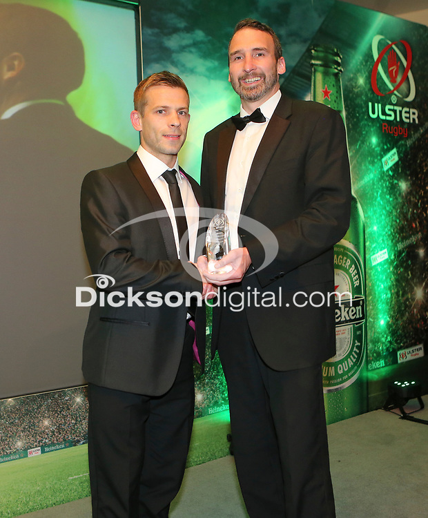 TThursday 10th May 2018 | Ulster Rugby Awards 2018<br /> <br /> Chris Mills of Heineken Northern Ireland presents the Heineken Ulster Rugby Personality of the Year Award to Paul Marshall, during the 2018 Heineken Ulster Rugby Awards at La Mom Hotel, Belfast. Photo by John Dickson / DICKSONDIGITAL