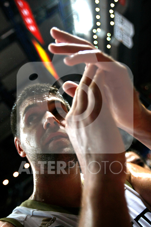 Real Madrid´s Felipe Reyes celebrates during La Liga ACB Playoffs semifinal last match, Madrid 2012/June/02..(ALTERPHOTOS/ARNEDO)