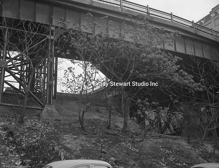 Pittsburgh PA:  View of the approach leading to the Liberty Bridge from Oakland - 1953.  Assignment was done for Architect working for the Allegheny Conference.  City leaders were beginning to talk about improving access to the city from the south hills and east end.