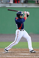 Outfielder Randolph Oduber (14) of the Potomac Nationals bats in a game against the Carolina Mudcats on Friday, June 21, 2013, at G. Richard Pfitzner Stadium in Woodbridge, Virginia. Potomac won, 5-1. (Tom Priddy/Four Seam Images)