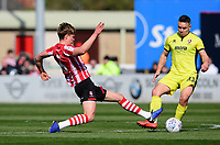 Lincoln City's Mark O'Hara vies for possession with Cheltenham Town's Billy Waters<br /> <br /> Photographer Chris Vaughan/CameraSport<br /> <br /> The EFL Sky Bet League Two - Lincoln City v Cheltenham Town - Saturday 13th April 2019 - Sincil Bank - Lincoln<br /> <br /> World Copyright © 2019 CameraSport. All rights reserved. 43 Linden Ave. Countesthorpe. Leicester. England. LE8 5PG - Tel: +44 (0) 116 277 4147 - admin@camerasport.com - www.camerasport.com
