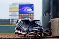 A pair of cleats sit on the top step of the Winston-Salem Dash dugout at  BB&T Ballpark August 4, 2010, in Winston-Salem, North Carolina.  Photo by Brian Westerholt / Four Seam Images