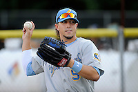 Left fielder Jake Skole (9) of the Myrtle Beach Pelicans before a game against the Potomac Nationals on Monday, June 24, 2013, at G. Richard Pfitzner Stadium in Woodbridge, Virginia. Skole was taken by the Texas Rangers in the first round of the 2010 First-Year Player Draft. Myrtle Beach won, 3-2. (Tom Priddy/Four Seam Images)