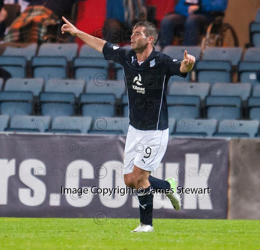 Dundee's Peter MacDonald scores their third goal.