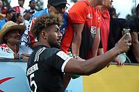 Luke Masirewa mingles with fans on day two of the 2018 HSBC World Sevens Series Hamilton at FMG Stadium in Hamilton, New Zealand on Sunday, 4 February 2018. Photo: Shane Wenzlick / lintottphoto.co.nz