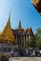 Tourists in the Emerald Budda Temple, Bangkok, Thailand