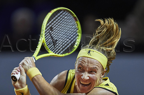 April 25th 2017. Stuttgart, Germany; Porsche Grand Prix womens tennis tournament;  Svetlana Kuznetsova (RUS) returns to Kiki Bertens (NED)