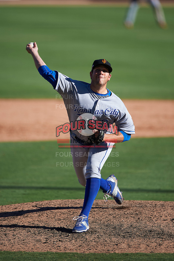 Surprise Saguaros pitcher Kevin McCarthy (34) delivers a pitch during an Arizona Fall League game against the Glendale Desert Dogs on October 24, 2015 at Camelback Ranch in Glendale, Arizona.  Surprise defeated Glendale 18-3.  (Mike Janes/Four Seam Images)