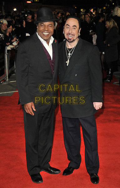 "Toriano Adaryll ""Tito"" Jackson & David Gest .The ""Michael Jackson : The Life Of An Icon"" UK premiere, Empire cinema, Leicester Square, London, England..2nd November 2011.full length black suit hat white shirt beard facial hair necklaces cross crucifix.CAP/CAN.©Can Nguyen/Capital Pictures."