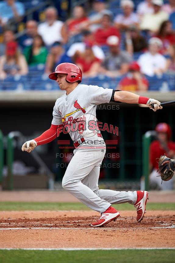 Palm Beach Cardinals center fielder Thomas Spitz (8) follows through on a swing during a game against the Clearwater Threshers on April 15, 2017 at Spectrum Field in Clearwater, Florida.  Clearwater defeated Palm Beach 2-1.  (Mike Janes/Four Seam Images)