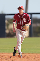 Dustin Dishman (2) of the Oklahoma Sooners in the field against the Pepperdine Waves at Eddy D. Field Stadium on February 18, 2012 in Malibu,California. Pepperdine defeated Oklahoma 10-0.(Larry Goren/Four Seam Images)