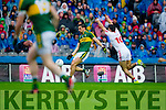 Anthony Maher, Kerry in Action Against  Tiernan McCann,Tyrone in the All Ireland Semi Final at Croke Park on Sunday.